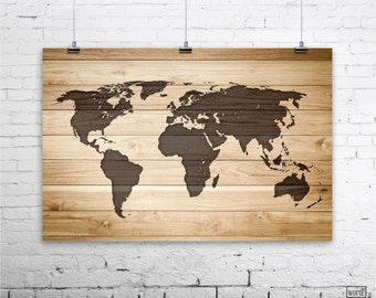World map poster etsy rustic wood large world map poster wood wall art print gifts for him gumiabroncs Gallery