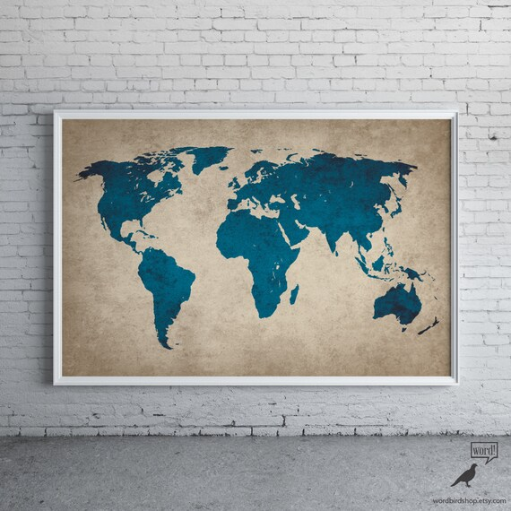 Rustic navy blue world map old world map large world map etsy image 0 gumiabroncs Images