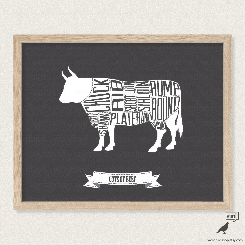 Schwarz und weiß-Küche-Druck Rindfleisch Metzgerei Chart | Etsy