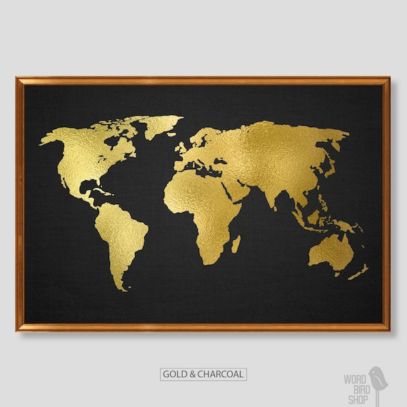 Gold World Map Poster.Gold World Map Poster Gold Black Home Decor Matte Gold Etsy