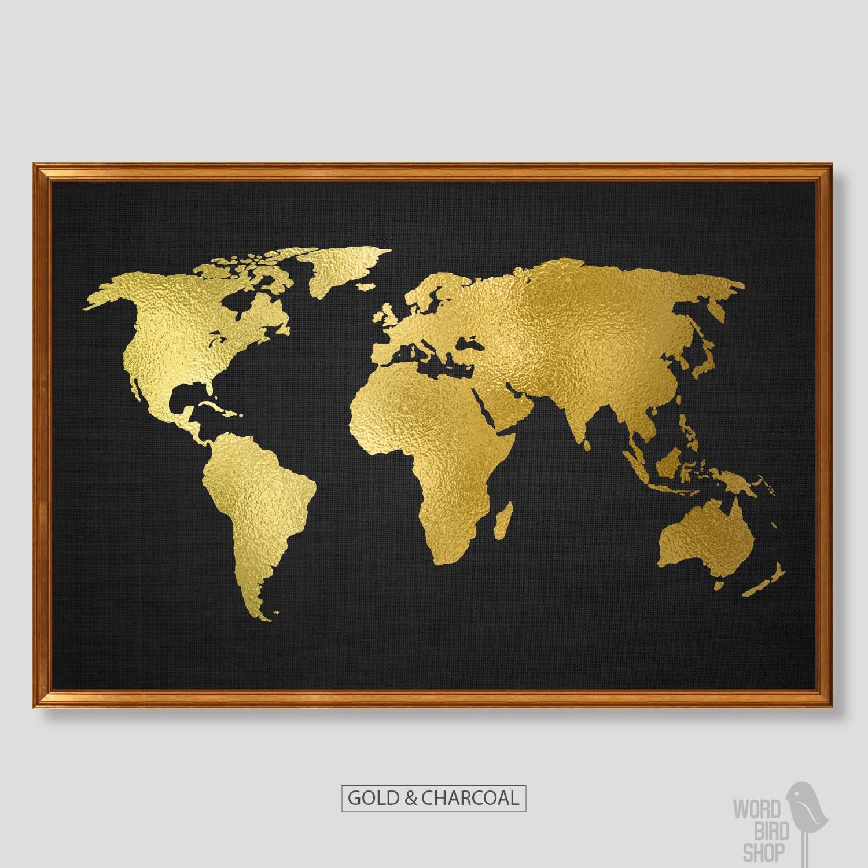 Gold World Map Poster Gold Black Home Decor Matte Gold Etsy