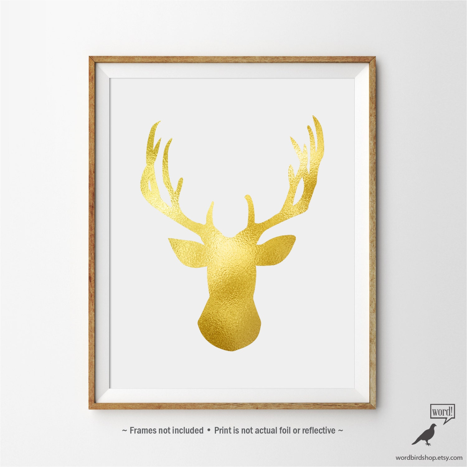Matte Gold Deer Antlers Print Stag Wall Art Gold Wall Decor | Etsy