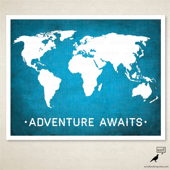 World map adventure awaits boys room wall art nursery etsy image 0 gumiabroncs Images