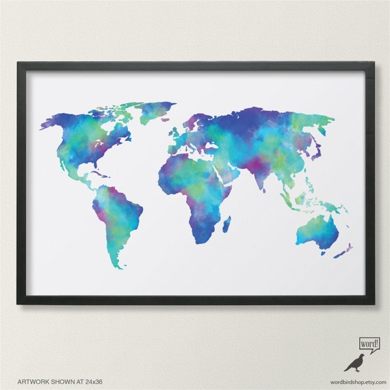 Watercolor map of the world in navy blue indigo teal cobalt etsy image 0 gumiabroncs Images