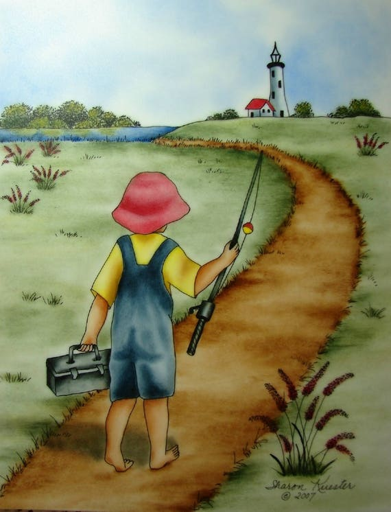 FREE SHIPPING Vintage Fishing Painting Fisherman Oil Painting