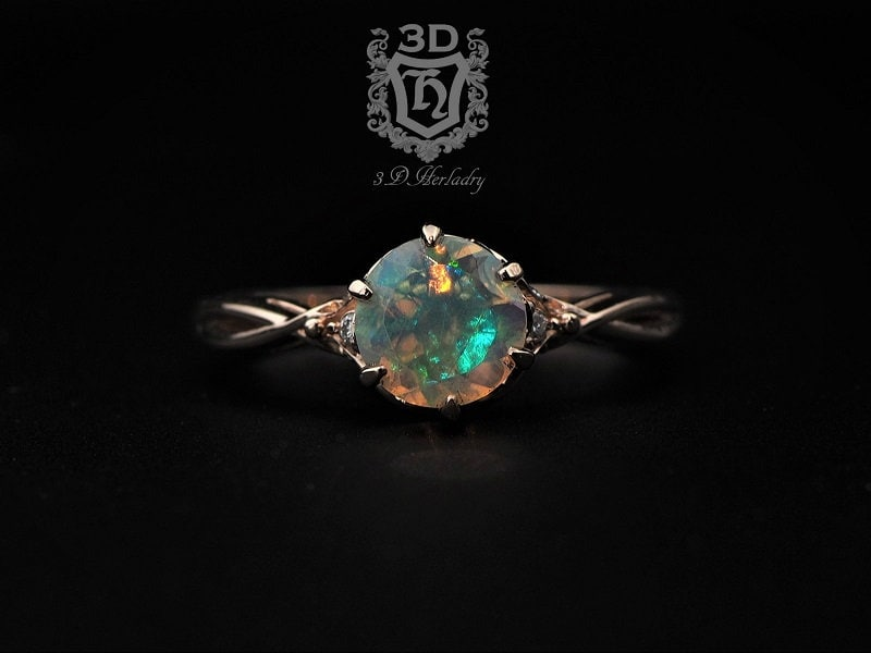 Opal Ring Opal Engagement Ring Ethiopian Opal Ring image 0