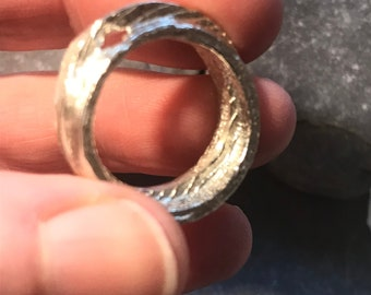 Chunky Silver Ring, Cuttlefish Casting, Sterling Silver Size M
