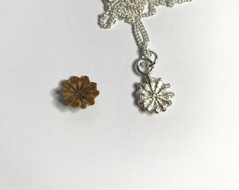 Poppy Cap Pendant, sterling silver sand cast, with a sterling silver curb chain