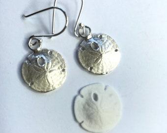 Sand Dollar Earrings, Sterling Silver Cast, Drop Earrings