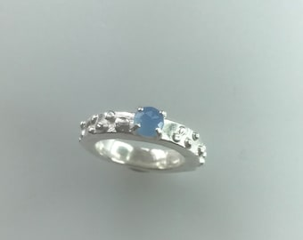 Chalcedony chunky ring, sterling silver, lost wax cast