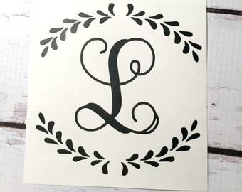 Vine Font One Initial Small Monogram Decal Single Letter Monogram Sticker Fancy Border Personalized Decal