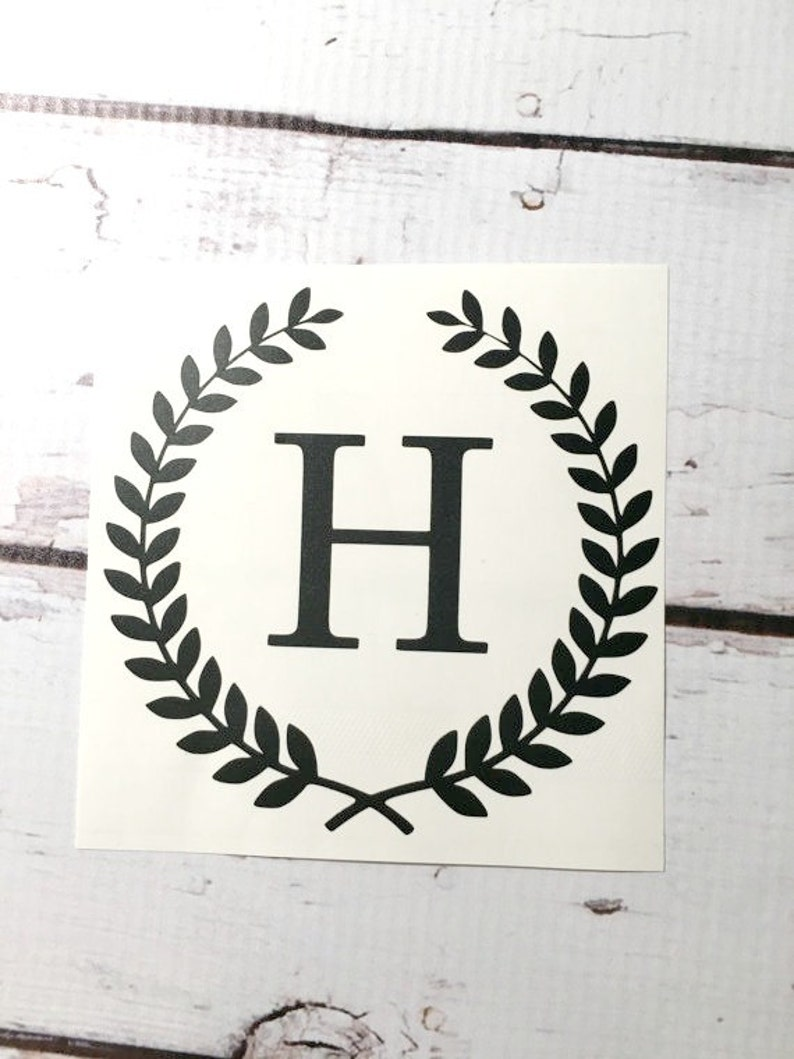 Wheat wreath monogram vinyl decal laurel border small initial sticker custom letter decal for cup notebook car