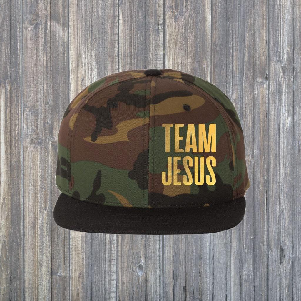 001e284a Team Jesus Gold Foil Camo Cap