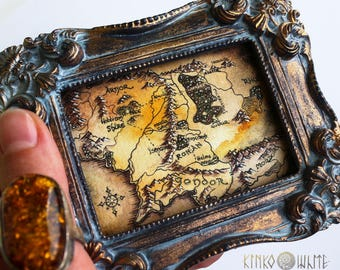 Middle-Earth Map. Original Framed Watercolor Panting