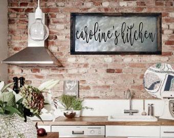 custom kitchen sign personalized kitchen sign farmhouse kitchen decor rustic kitchen sign personalized kitchen decor galvanized metal - Farmhouse Kitchen Decor