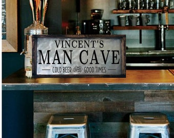 Personalized Man Cave Signs Etsy : Basement bar decor etsy