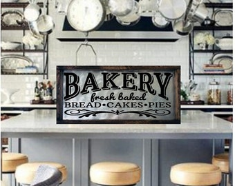 Bakery Sign Rustic Kitchen Decor Metal Gift For Baker Wood Vintage