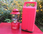 Vintage Coleman Red 200a Lantern with Red Carrying Case Lantern dated 5-72