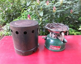 Vintage Coleman Model 502 Single Burner Camp Stove Dated 3-77 with Heat Drum