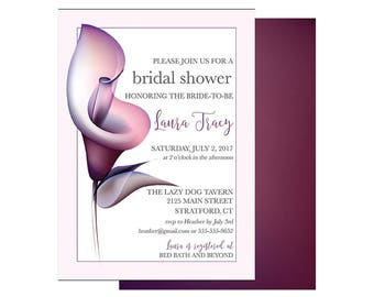 Calla Lily, Plum, Bridal Shower, Wedding Shower, Invitation,  digital file or professional printing available