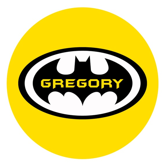 Yellow Custom Plate PERSONALIZED BATMAN PLATE Black Melamine Plate or Bowl and Gray
