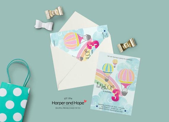 Hot Air Balloon 3rd Birthday Invitations Printable