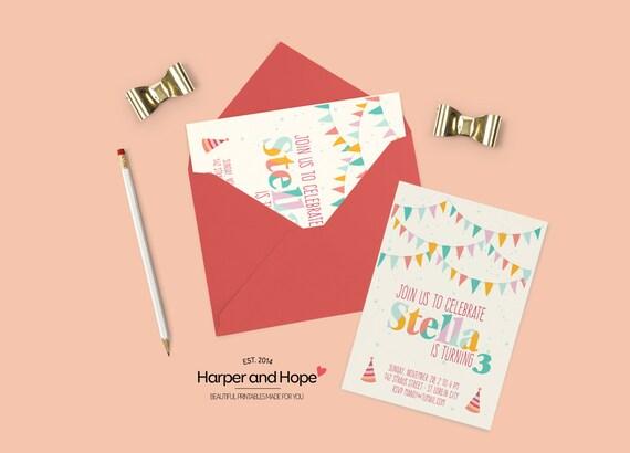 Printable Pennants Baby Girl 3rd Birthday Invites