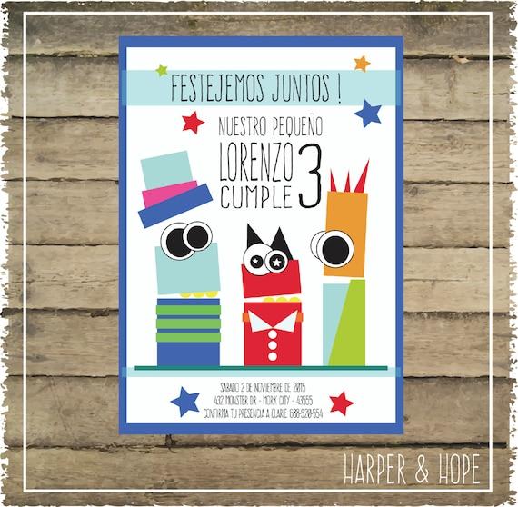 Invitaciones De Cumpleaños De Monstruitos Personalizadas