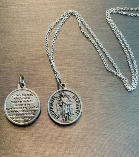 Angel of Healing Made in United States Sterling Silver .925 Archangel Rafael Charm Pendant Necklace