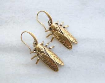 Antique gold brass cicada earrings, statement odd insect jewelry, trendy geek gift for woman, birthday anniversary, made in Greece