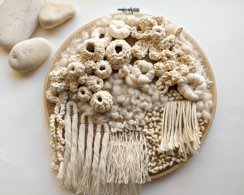 handmade artisan gift seabed organic form wall hanging coral reef wall decor 3D embroider hoop Crochet wall art tapestry fiber art