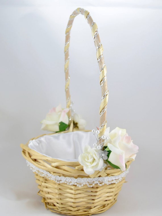 White wicker flower girl basket white roses satin lining etsy image 0 mightylinksfo