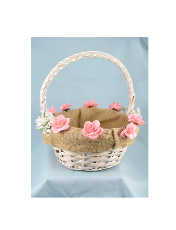 White wicker flower girl basket white or pink roses and etsy image 0 mightylinksfo