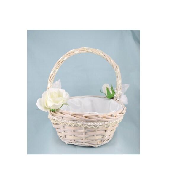 White Wicker Flower Girl Basket White Roses Satin Lining Etsy
