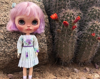 NEO BLYTHE Dolls~3 Piece Spring Clothing Outfit~Vintage Floral Mint Purple Blue Dress Hairpiece Socks Set~Licca Kenner Obitsu 22 Clothes