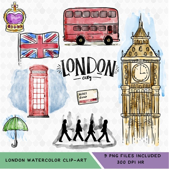 london clipart watercolor clipart london watercolor travel etsy