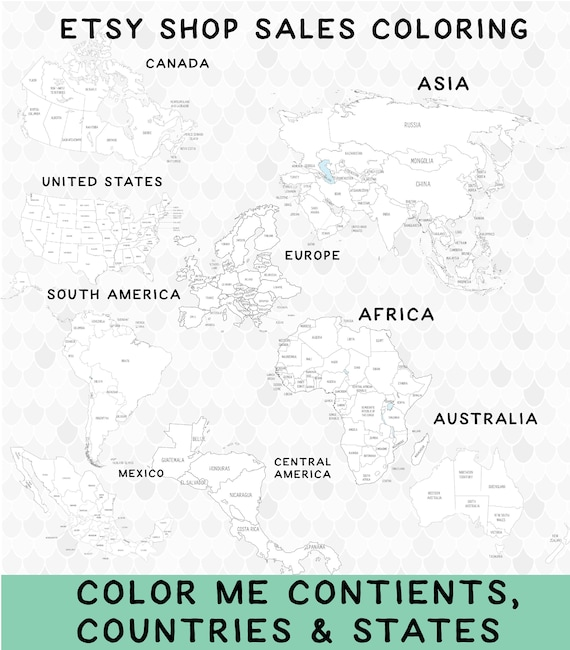 Printable World Map Coloring Pages, Coloring Continents, Coloring  Countries, Coloring States, Etsy Sales, Color Sales, Color Tracker
