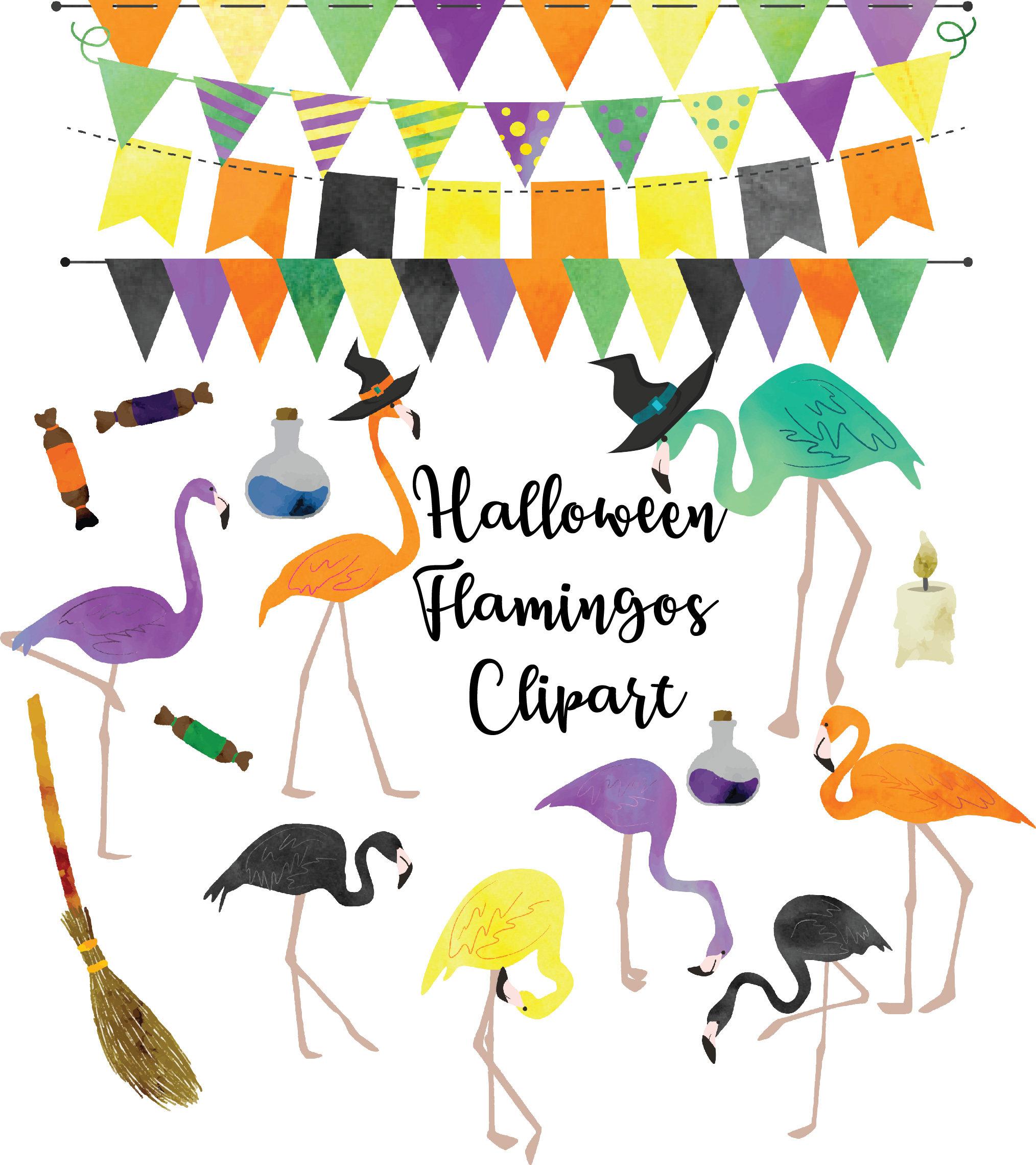 halloween flamingos halloween clipart flamingo clipart | etsy