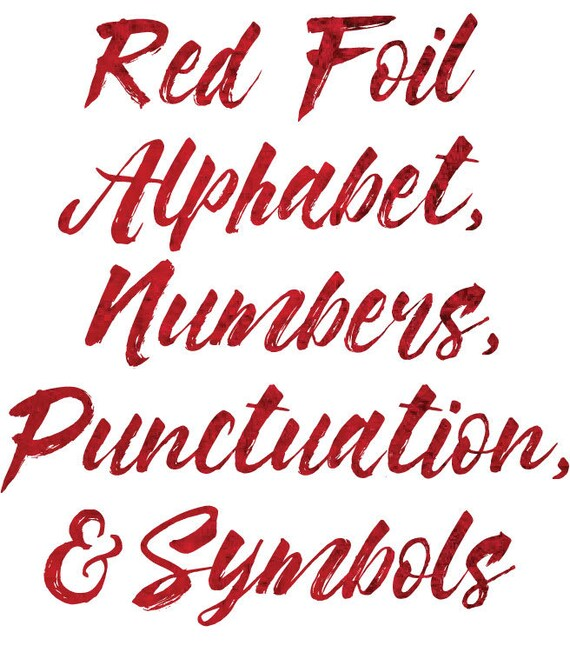 Red Alphabet Foil Alphabet Clipart Alphabet Red Foil Red Etsy
