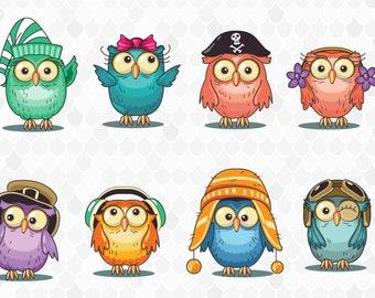 Owl Clipart, Clip-Art, Cute Owl, Animal Clip Art, Cartoon Owls, PNG Owl Images, Bird Clipart, Owl Graphics, Digital Clipart, Stickers Owl