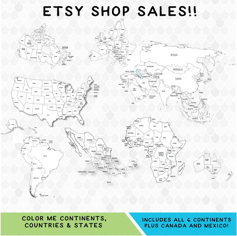 Coloring Pages Coloring World Map Etsy Sellers Etsy Sales Etsy