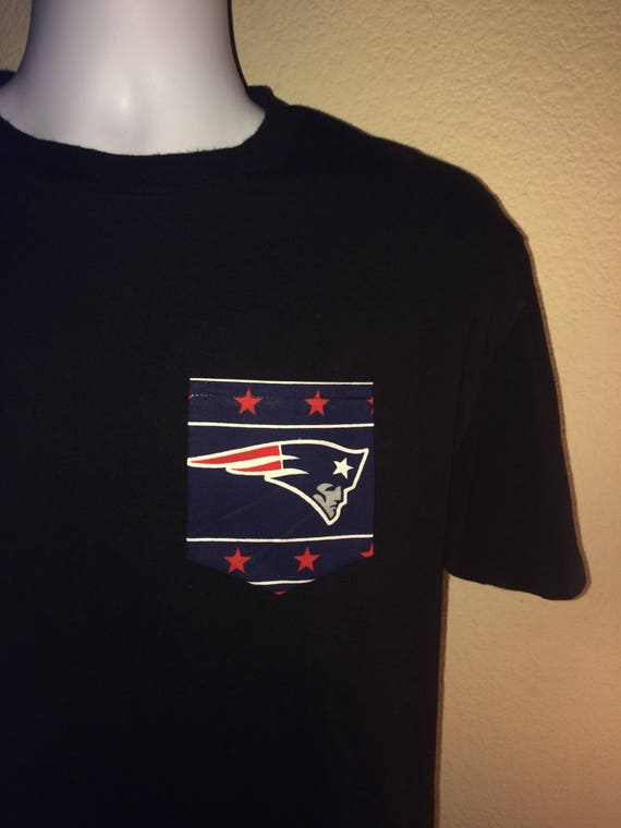 b54a0d1374c New England Patriots NFL Pocket Tee Black or White T-Shirt