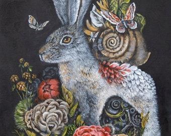 Whimsical Rabbit Bunny & Pink Flowers Fantasy Art Print