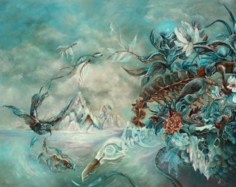 Penguin Seascape Fantasy Art Print, Skeleton and Fish Surreal Art Digital Print