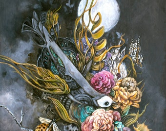 Steampunk Bird and Flowers Original Fantasy Painting with Wood Burning Art