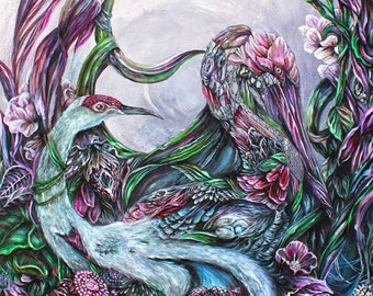 Steampunk Decor Cranes with Flowers Fantasy Art Print- Surreal Art Print - Boho Wall Art