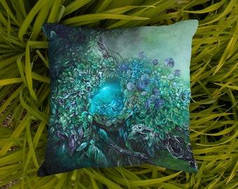 Steampunk Ethereal Forest Fantasy Print Outdoor Pillow, Patio and Garden Decor Pillow