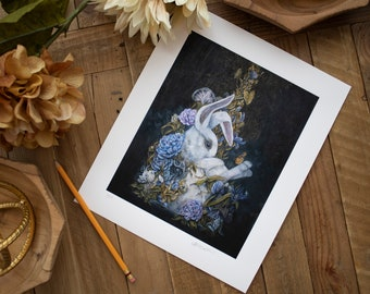 Giclee Deep Matte Bunny in Teacup Limited Edition Signed & Numbered Print