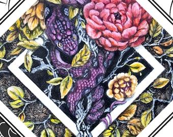 Secret Garden Snake and Flowers Fantasy Art Print, Geometric Print