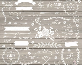 Wedding Clipart Rustic Shabby Chic Lace Flower Arrows Laurel INSTANT DOWNLOAD